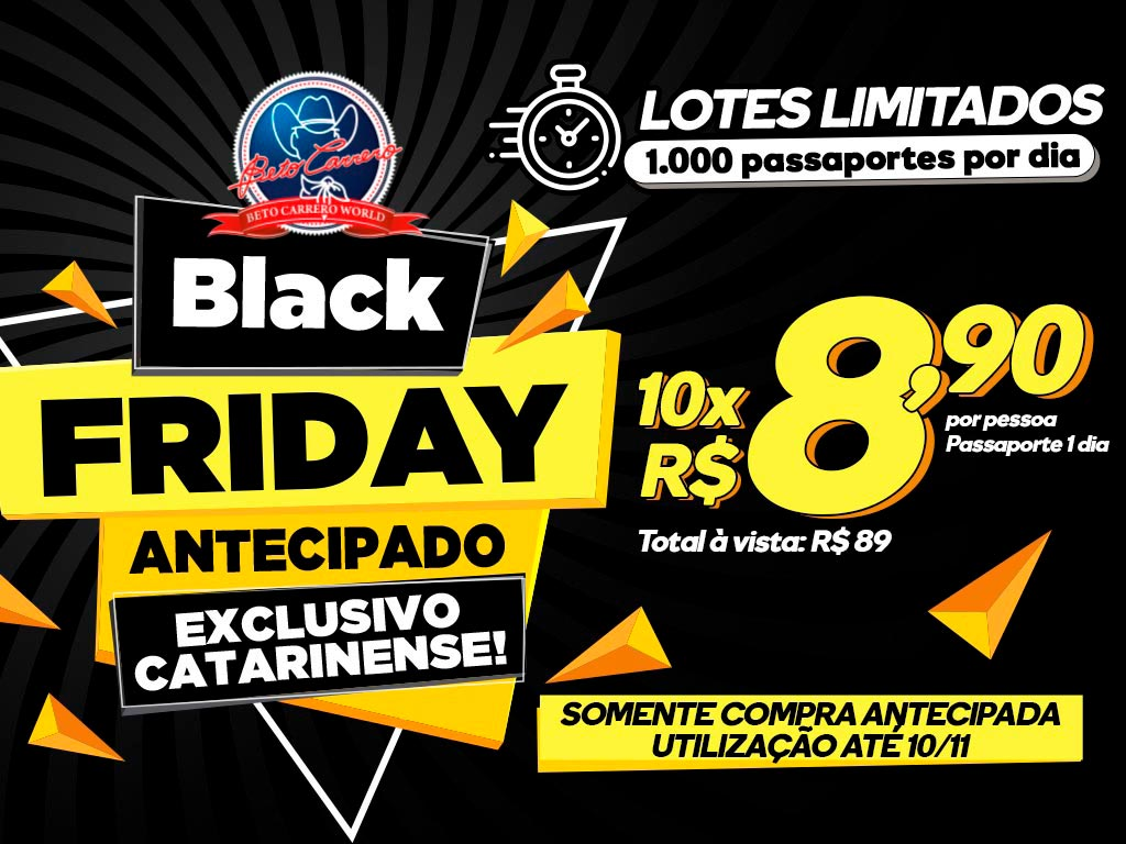 Passaporte de Entrada Black Friday Antecipado - Exclusivo Catarinense - 1 Dia - A partir de 04 anos